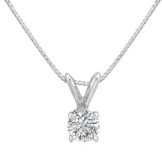 Amanda Rose AGS Certified 1/3ct Diamond Solitaire Pendant Necklace in 14K White Gold