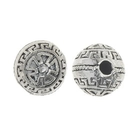 Lead-Free Pewter Beads, Round With Abstract Pattern 9.5mm, 6 Pieces, Silver