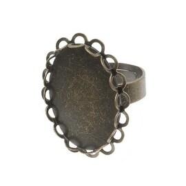 Antiqued Brass Oval Bezel Adjustable Ring 29x23mm (1)