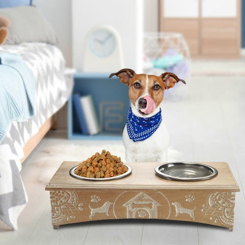 "Handmade Mango Wood Elevated Double Pet Feeder with Engraved Mandalas and Dogs - 19"" x 9"" x 5"""