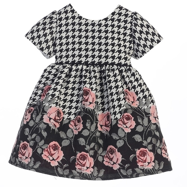 Sweet Kids Baby Girls Rose Print Houndstooth Jacquard Christmas Dress 6-24M