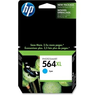 HP 564XL High Yield Cyan Original Ink Cartridge (CB323WN)(Single Pack) HP 564XL Cyan Ink Cartridge - Cyan - Inkjet