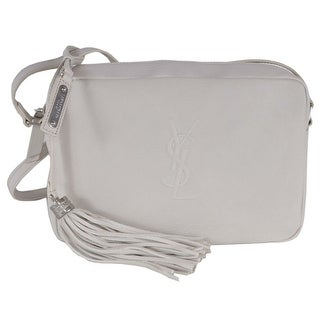 Saint Laurent YSL LOU Icy White Leather Camera Bag Crossbody Purse