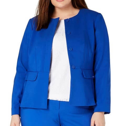 Calvin Klein Womens Jacket Blue Size 16W Plus Jewel-Neck Peplum Blazer