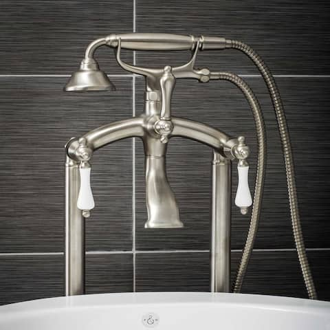 Pelham & White Luxury Tub Filler Faucet, Vintage Design, Floor Mount Installation, Porcelain Handles, Brushed Nickel Finish