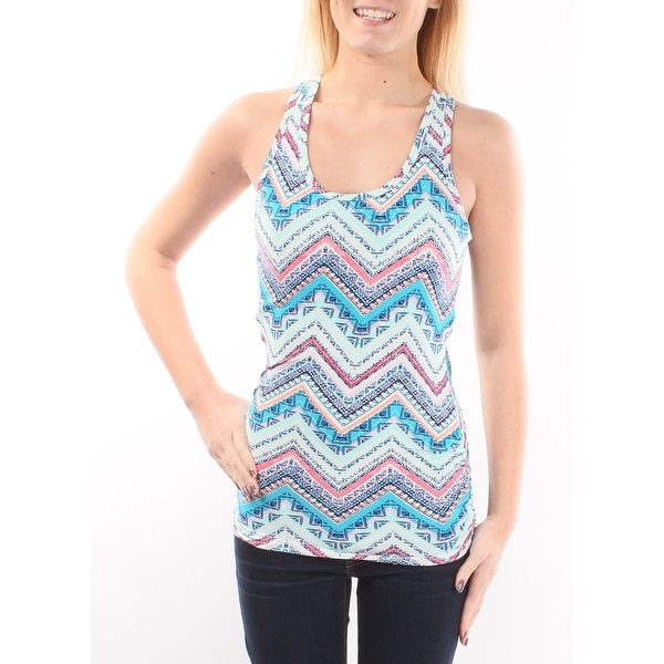 Planet Gold Womens Blue Chevron Sleeveless Scoop Neck Top Size: S