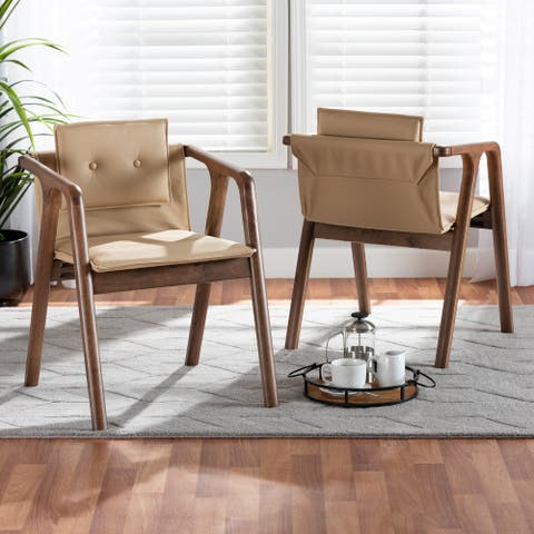 Marcena Mid-Century Modern 2-Piece Dining Chair Set