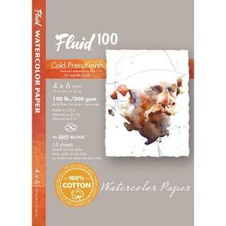 """Global Art - Fluid 100 Watercolor Paper Block - Cold Press - 4"""" x 6"""" - 300 lb., 10 Shts./Block"""