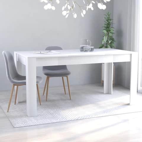 "vidaXL Dining Table White 63""x31.5""x30"" Chipboard"