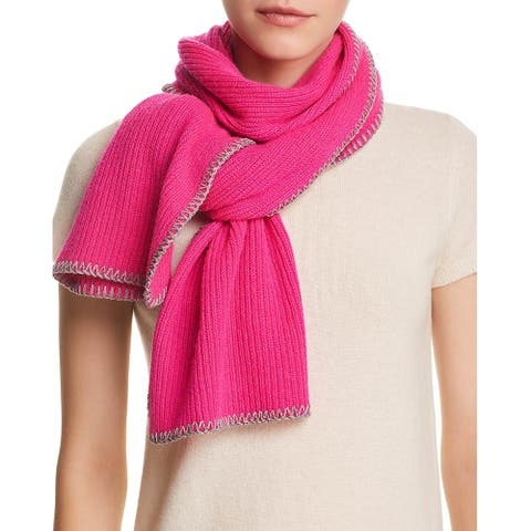 Aqua Womens Whipstitch Cashmere Scarf Hot Pink and Grey 492493