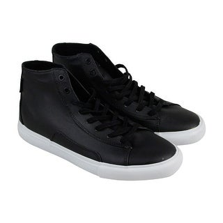 Diamond Brilliant Simplicity Mens Black Leather High Top Sneakers Shoes