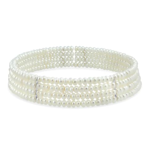 Bridal Freshwater Cultured Choker 4 Row Gold Silver Plated Necklace