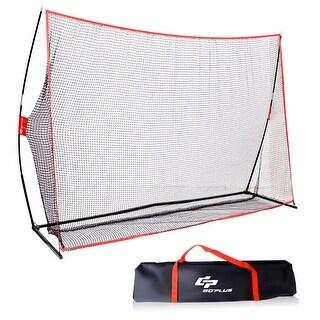 Goplus 10'x7' Golf Practice Net Training Hitting Personal Driving Range Indoor Outdoor - Black + Red