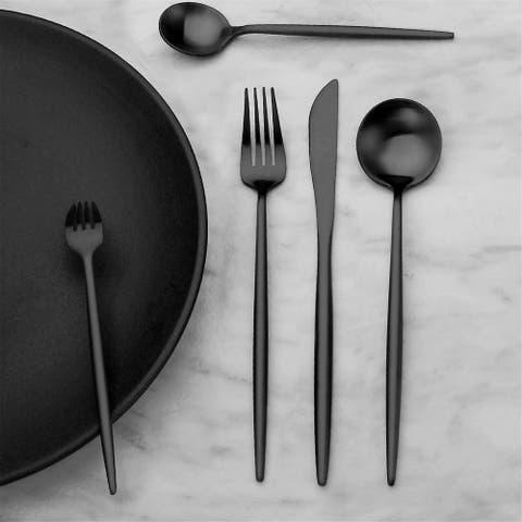 Matte Black Silverware Set Stainless Steel Satin Finish Flatware Cutlery Set Service for 4, Dishwasher Safe (Matte Black, 20 P)