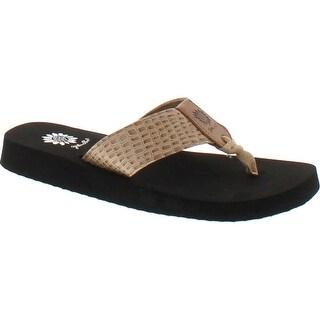 Yellow Box Women's Owen Croc Embossed Comfort Foam Flip Flop Sandal