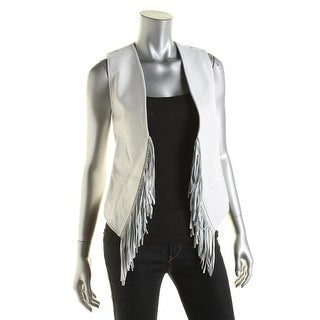 Rebecca Minkoff Womens Tiffy Lambskin Leather Fringe Casual Vest - XS