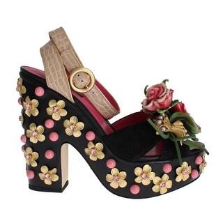 Dolce & Gabbana Dolce & Gabbana Black Leather Floral Crystal Platform Shoes