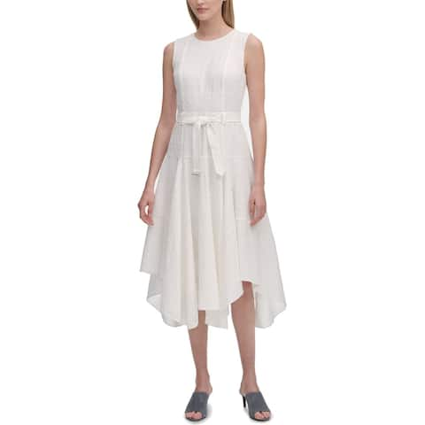 Calvin Klein Women's Dress White Size 6 A-Line Eyelet Belted Midi