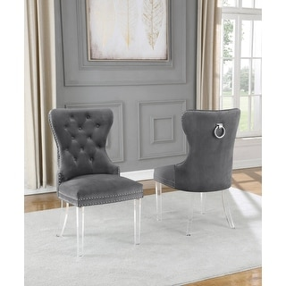 Link to Best Quality Furniture Button Tufted Wingback Chairs (Set of 2) Similar Items in Dining Room & Bar Furniture