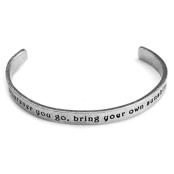 Women's Note To Self Inspirational Lead-Free Pewter Cuff Bracelet - Wherever You Go - Silver