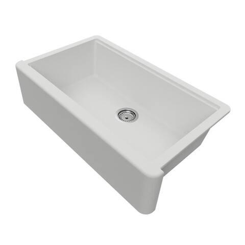 "Self-Trimming Quartz Composite 36"" Farmhouse Single Bowl Kitchen Sink"