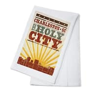 Charleston, SC - Skyline & Sunburst - LP Artwork (100% Cotton Towel Absorbent)