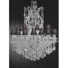 Swarovski Crystal Trimmed Maria Theresa Crystal Chandelier Lighting With Black Shade