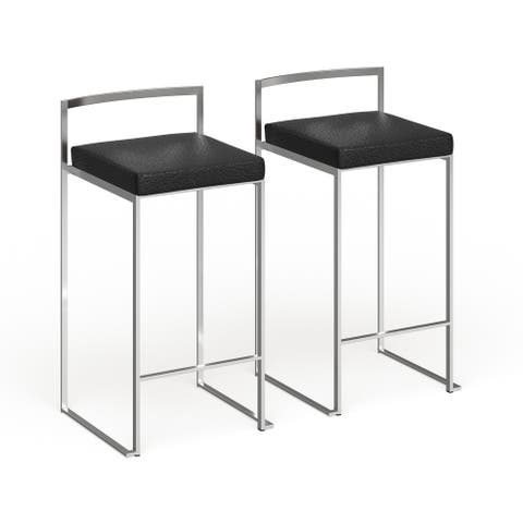 Silver Orchid Forrest Stainless Steel Stackable Counter Stool (Set of 2)