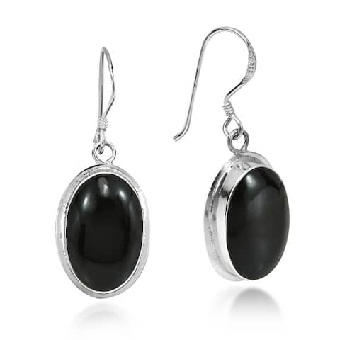 Handmade Simply Elegant Oval Inlay on Sterling Silver Dangle Earrings (Thailand)