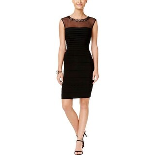 Xscape Womens Bodycon Dress Embellished Shutter Pleat
