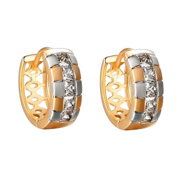 14K Gold Tone Hoop Earrings Princess Cut Lab Diamonds 2 Tone Huggies 14mm