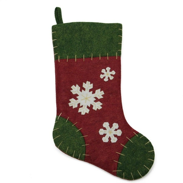"""20"""" Natural Green and Red Snowflake Applique Christmas Stocking with Blanket Stitching"""