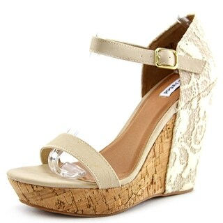 Not Rated Fonts Point Open Toe Synthetic Wedge Heel