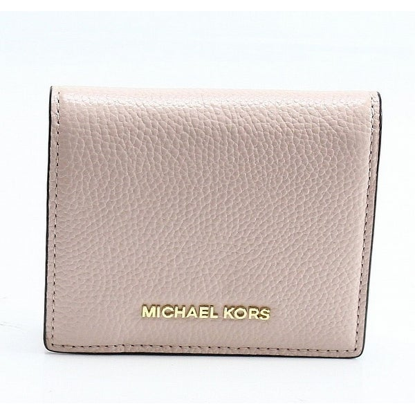 Michael Kors Pink Pebble Leather Mercer Flap Card Holder Bifold Wallet