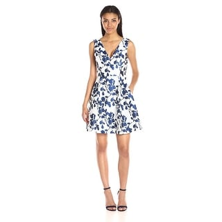 dfd3e65c751 Shop Betsey Johnson Floral Jacquard V-Neck Fit   Flare Cocktail Day Dress  Ivory Navy - Free Shipping Today - Overstock - 18683581