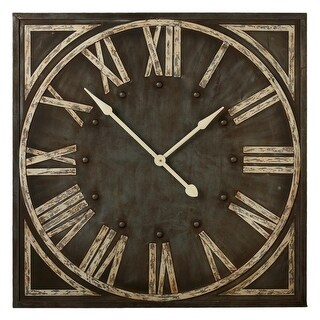"36"" Distressed Grey Rustic Styled Roman Numeral Analog Wall Clock"