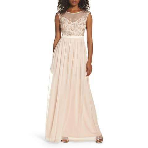 Adrianna Papell Women's Dress Beaded Mesh Gown