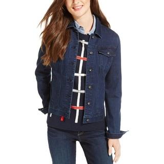 Tommy Hilfiger Womens Jean Jacket Overdye Pleated
