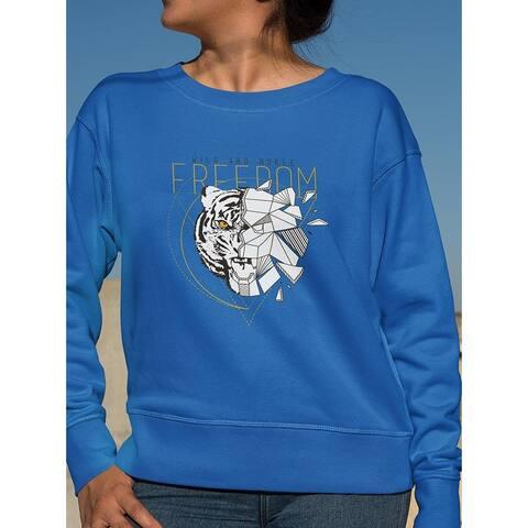 Polygonal Tiger Face Sweatshirt Women's -Image by Shutterstock - Royal