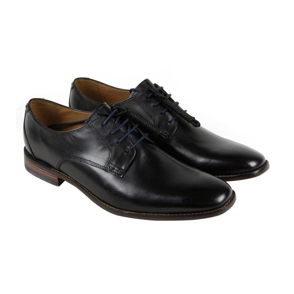 Steve Madden Mens Black Leather Casual Dress Lace Up Oxfords Shoes