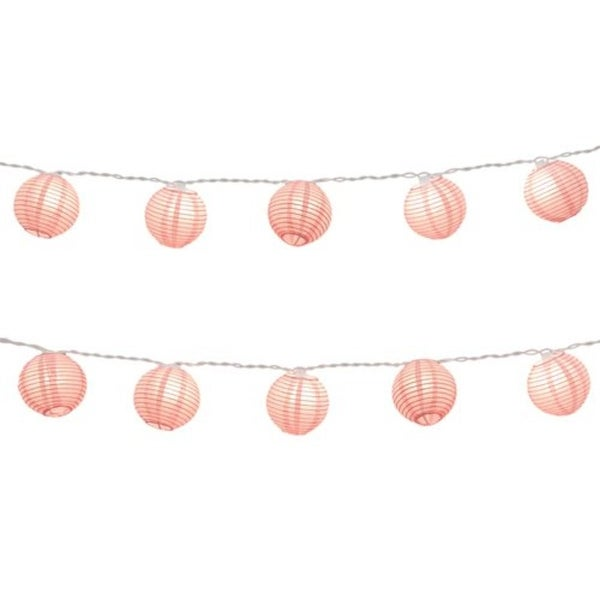 set of 10 baby pink paper lantern christmas lights white wire