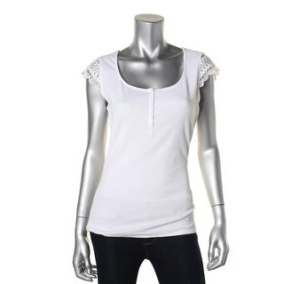 Guess Womens Scoop Neck Lace Trim Pullover Top