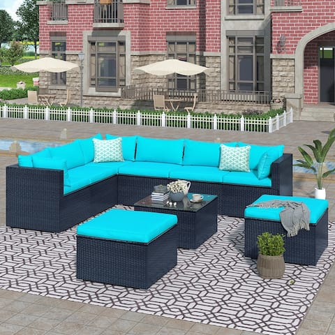 9-piece Outdoor Patio PE Wicker Rattan Sectional Sofa sets