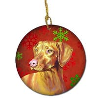 Vizsla Red Snowflake Holiday Christmas Ceramic Ornament
