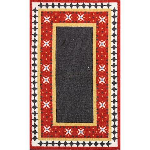"Geometric Modern Oriental Area Rug Wool Hand-Hooked Foyer Carpet - 2'2"" x 3'9"""