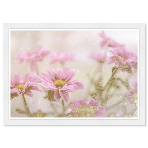 Wynwood Studio Prints 'Sparkling Pastel Floral' Brown Wall Art