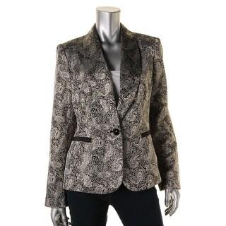 Nine West Womens Metallic Jacquard One-Button Blazer