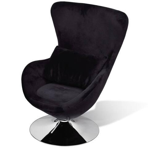 vidaXL Swivel Egg Chair with Cushion Black Velvet