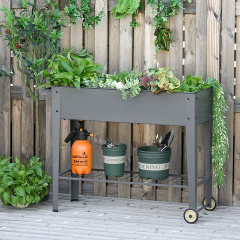"Outsunny 41"" x 15"" x 32"" Raised Garden Bed with 2 Wheels, Bottom Shelf for Storing Tools, & Water Drainage Hole, Grey"