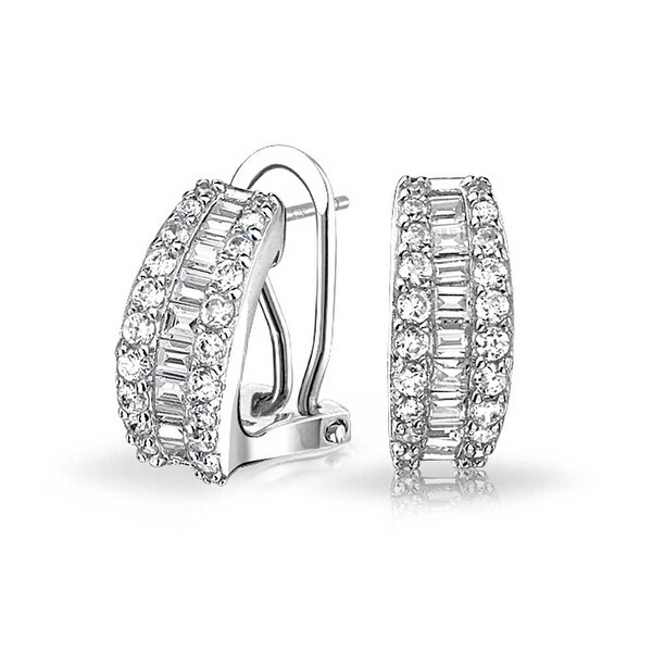 cd521d467 Shop Wedding Bride Holiday Baguette CZ Half Hoop Stud Earring Omega Back  Earrings for Women 925 Sterling Silver - On Sale - Free Shipping On Orders  Over $45 ...
